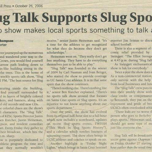 "City on a Hill Press - ""Slug Talk Supports Slug Sports"" 10/26/2006"