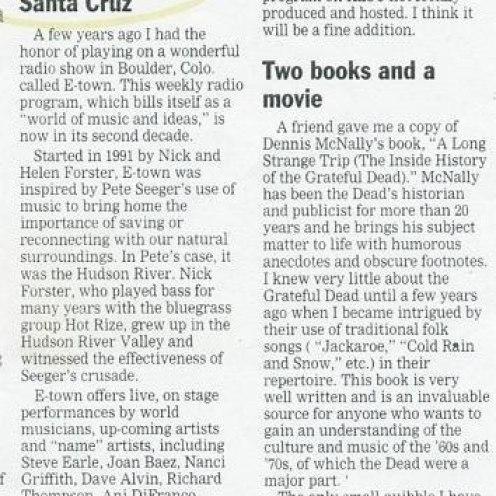 "Santa Cruz Sentinel - ""E-town comes to Santa Cruz"""