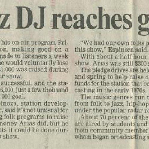 """Santa Cruz Sentinel - """"UC Santa Cruz DJ reaches goal by a hair"""" circa May 2001"""