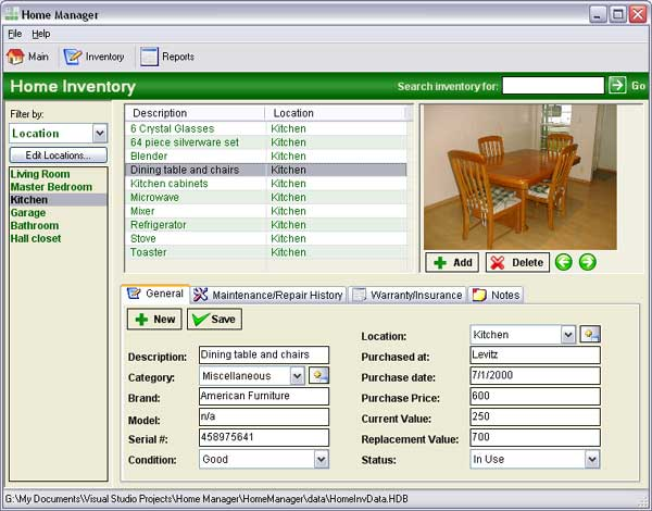 Home Manager - Inventory Screen On the home inventory screen, you