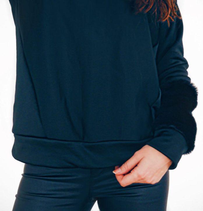 Pullover mit Fellärmel nähen
