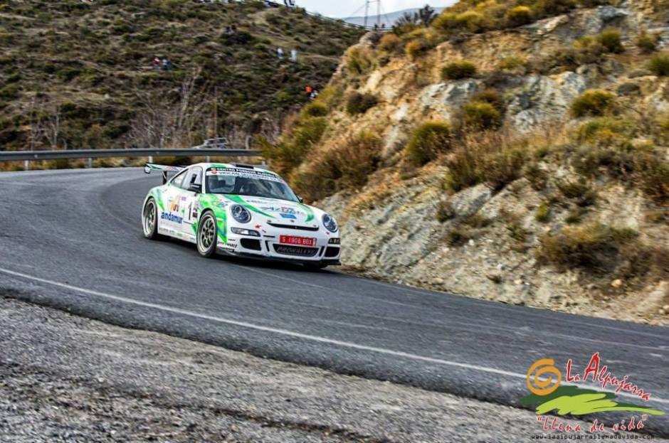 """José Antonio Aznar y su copiloto José Crisanto Galán al volante del """"Porsche 911 Gt3 Cup Rally"""""""
