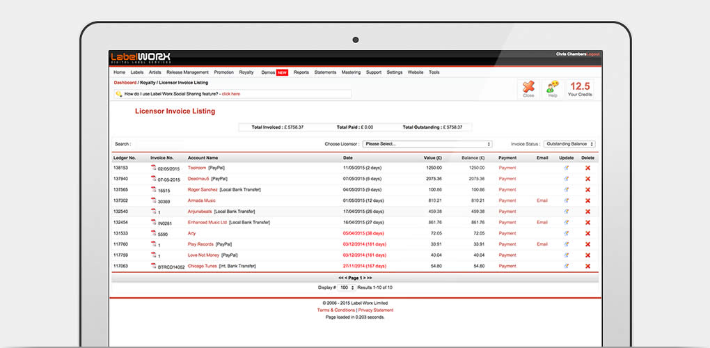 Invoicing  Payments - Royalty Worx Label Worx