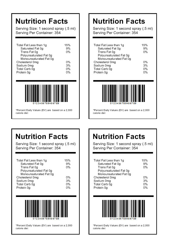 Nutrition label « Labeljoy Best Barcode Label Printing software