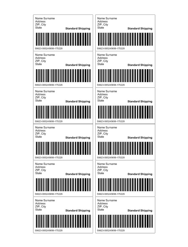 Shipping Label Template Custom addess Labels Template - name and address template