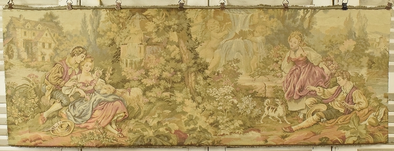 B837 Divine Vintage French Tapestry Wall Hanging