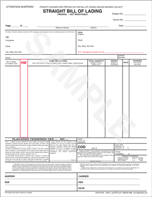 Shipping Limited Quantities, Excepted Quantities, and ORM-D - blank bill of lading form template