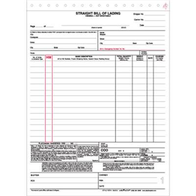 Straight Bill Of Lading Form, Snap Out, 4-Part, 85\