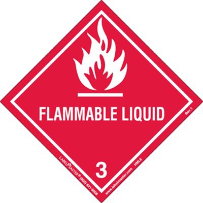 Flammable Liquid Label, Worded, Paper, Pack of 50 Labelmaster