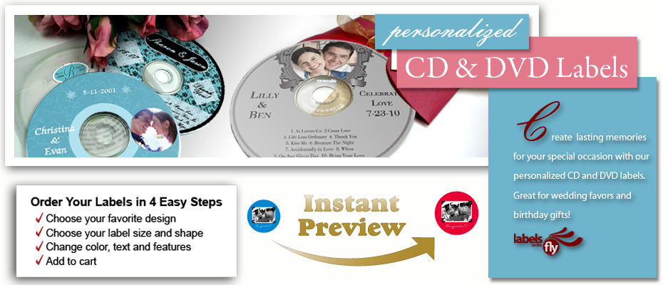 Personalized CD DVD Labels, All CD DVD Labels, custom anniversary CD - create cd labels