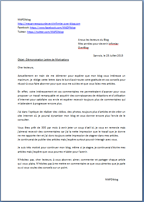 lettre de motivation dactylographiee definition