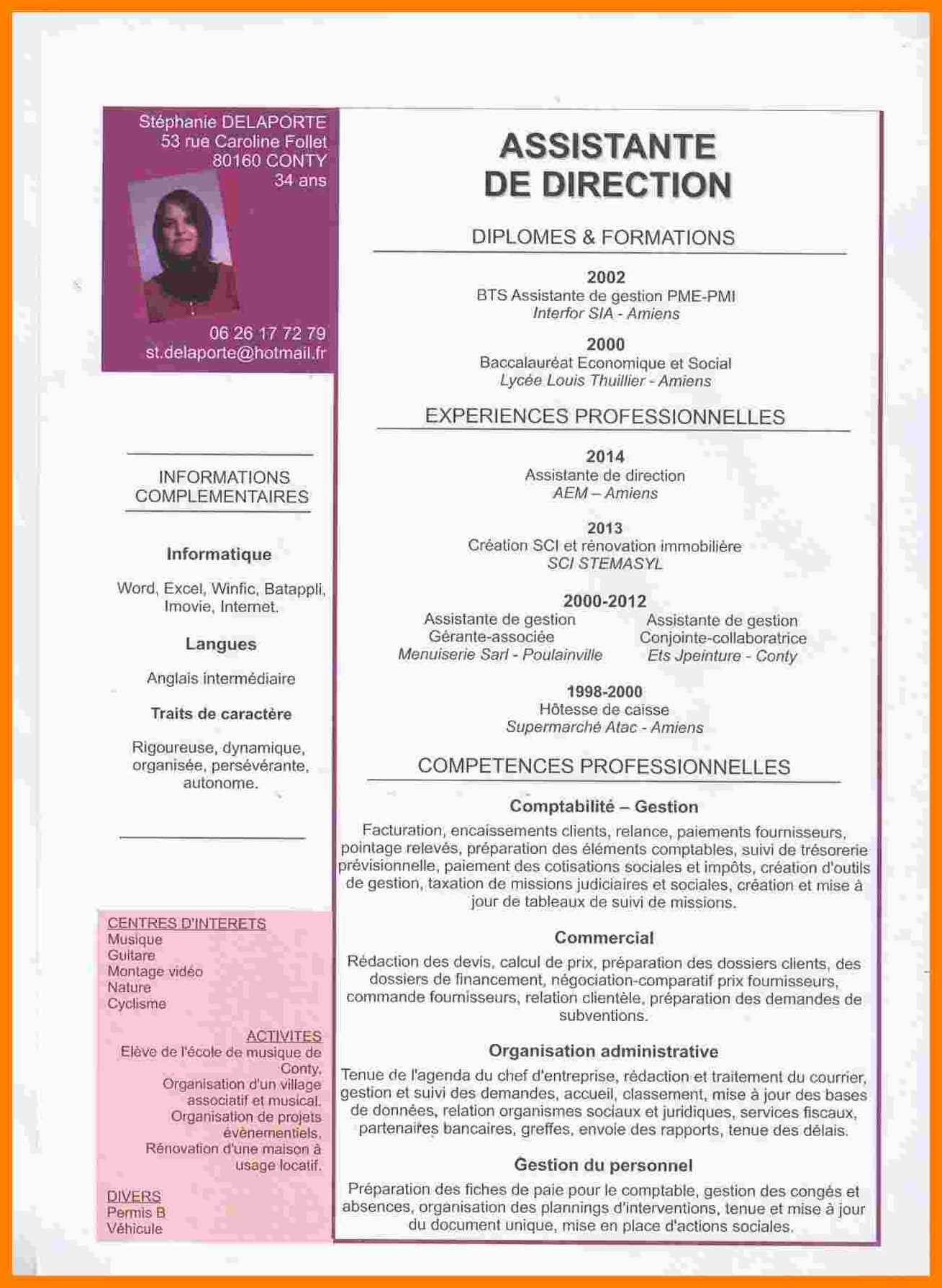 cv d une assistante de direction
