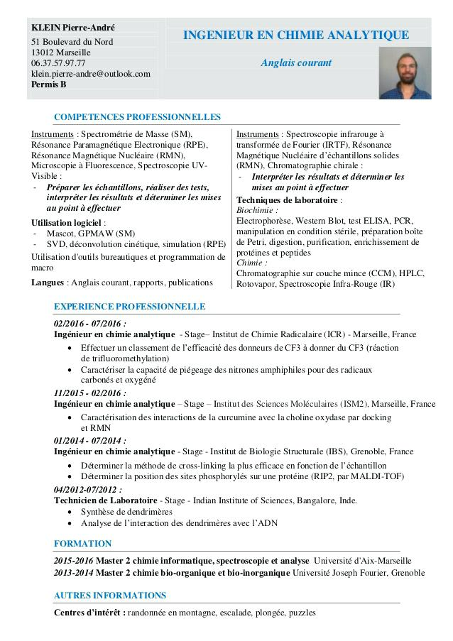 cv stage technicien de laboratoire