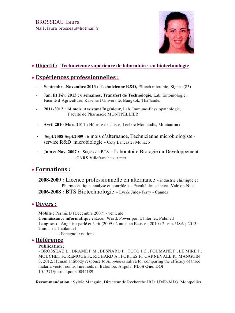 exemple cv industrie pharmaceutique