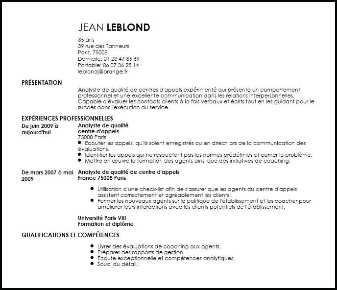 cv centre d appel exemple