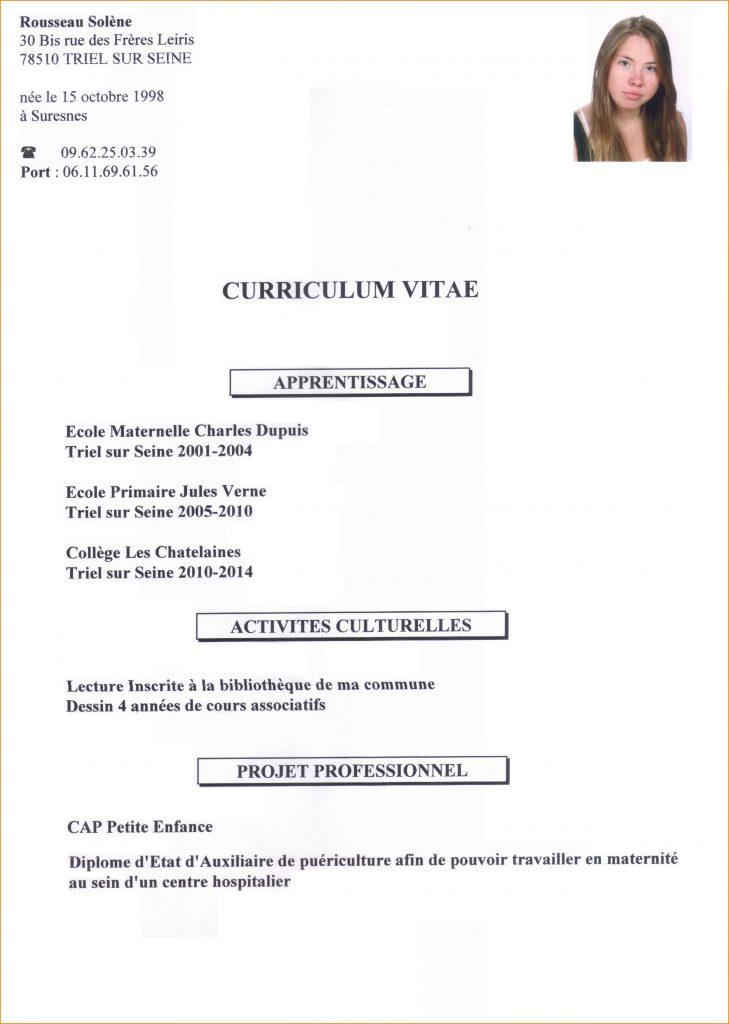 exemple cv eleve terminal