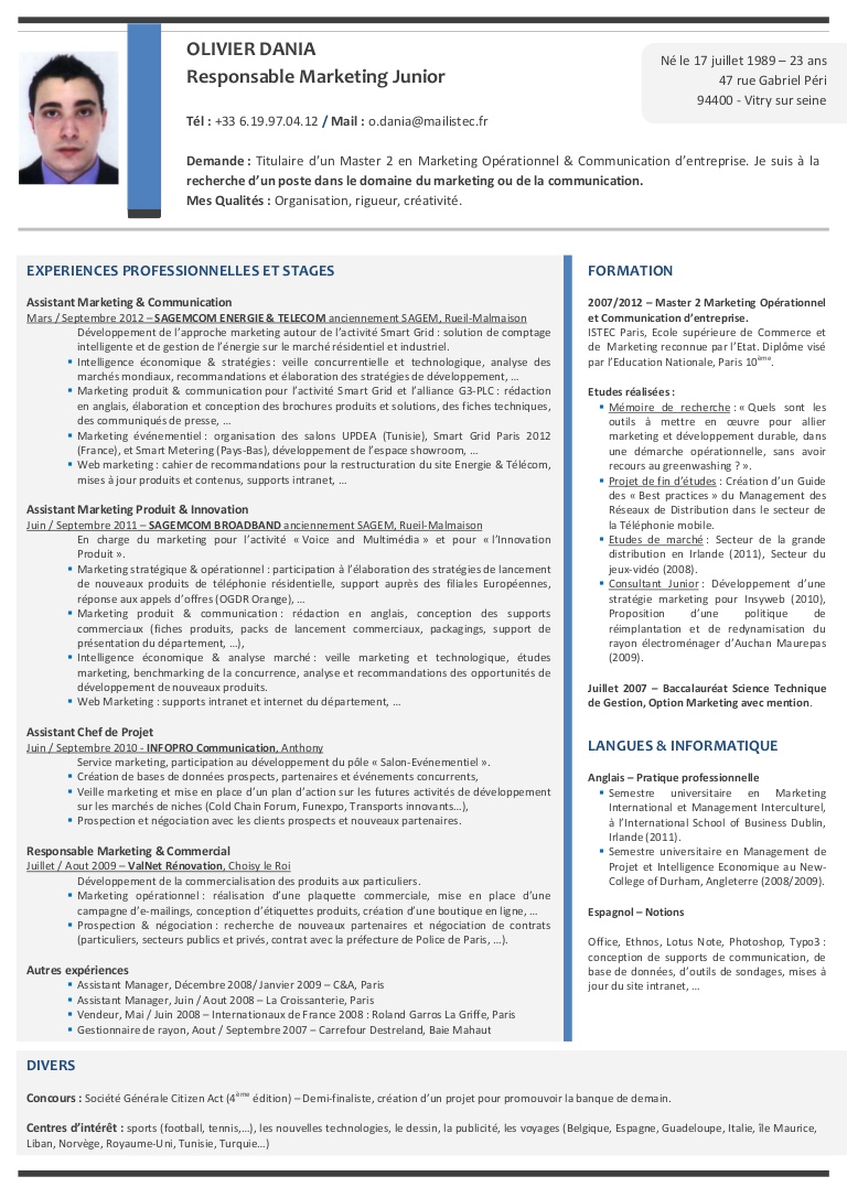 exemple de cv bts informatique