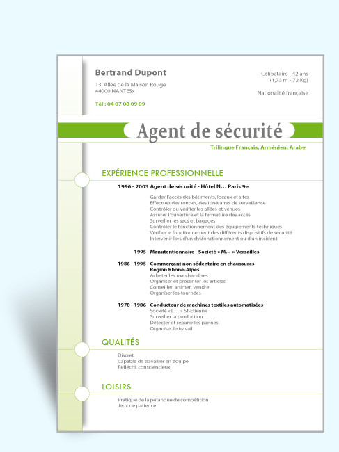 cv metier de securite stage