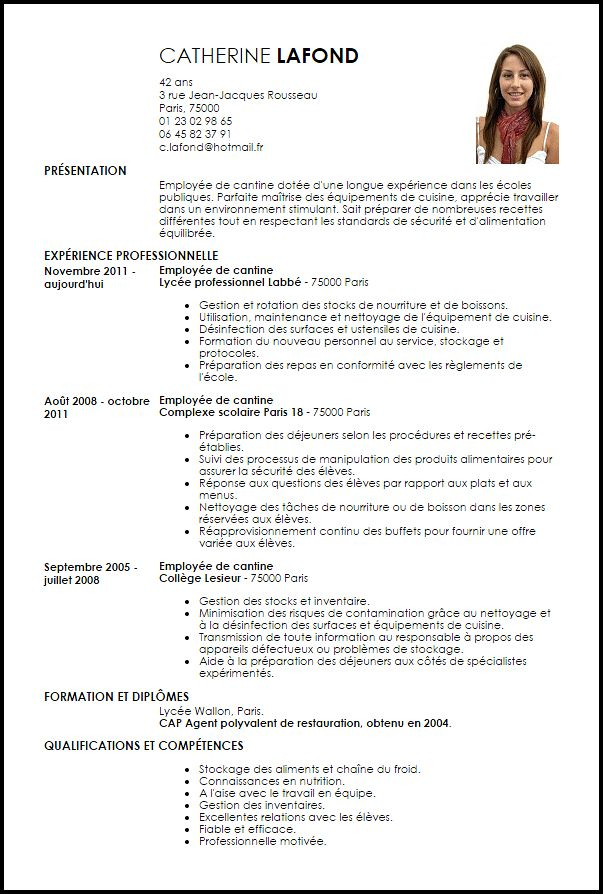 cv agent de restauration exemple