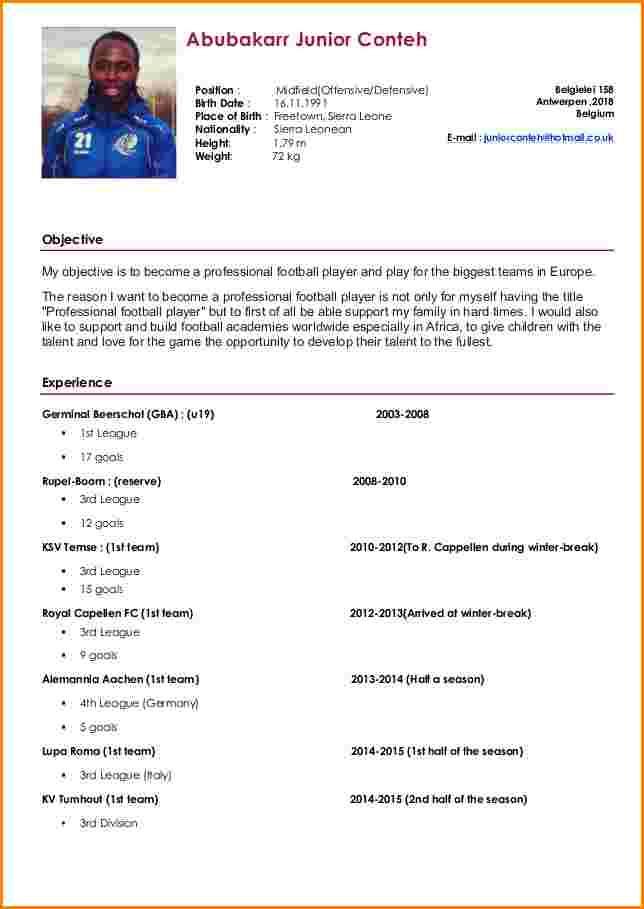 cv et lettre de motivation joueur football