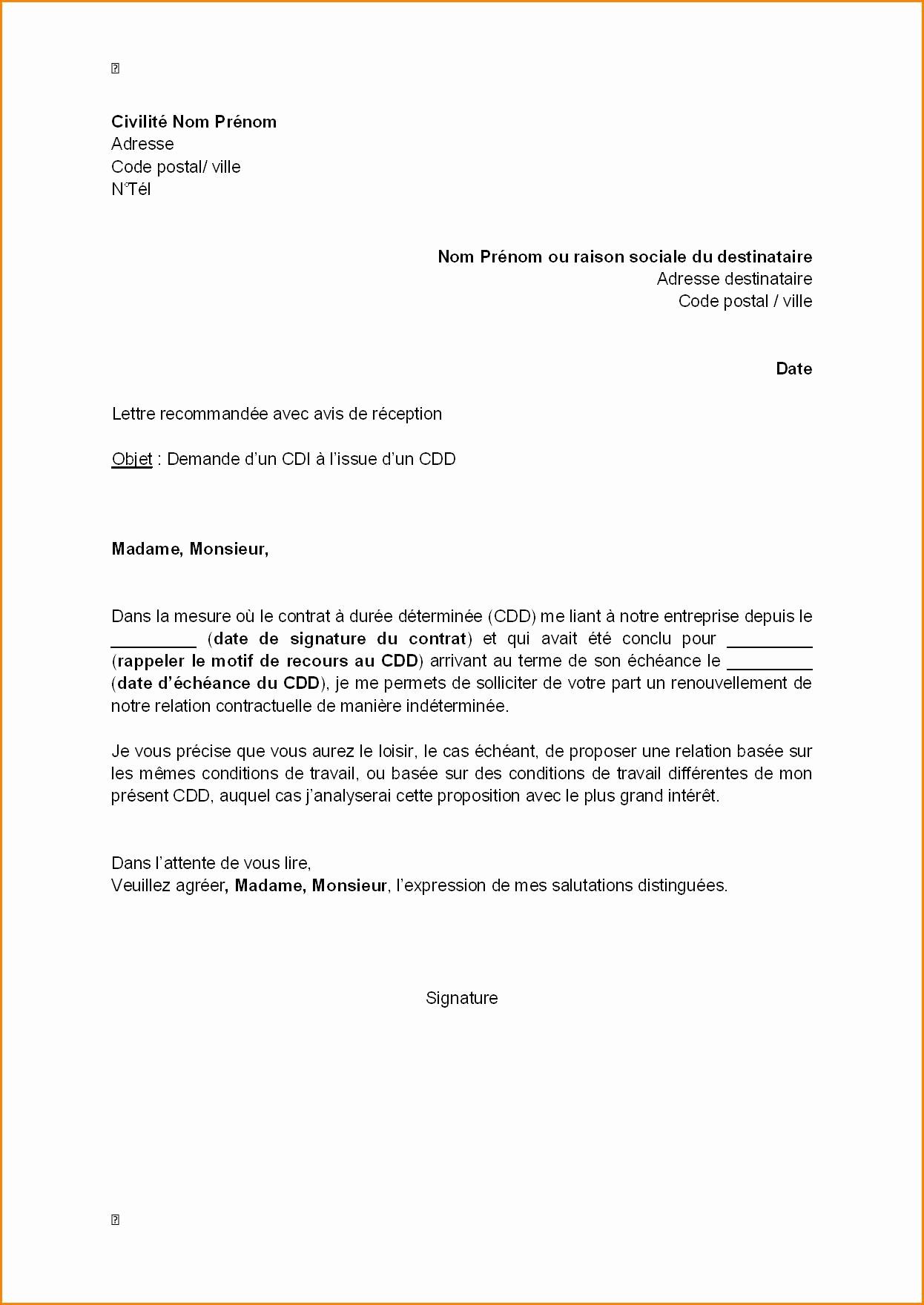 avis model de lettre administrative en francais lettre type