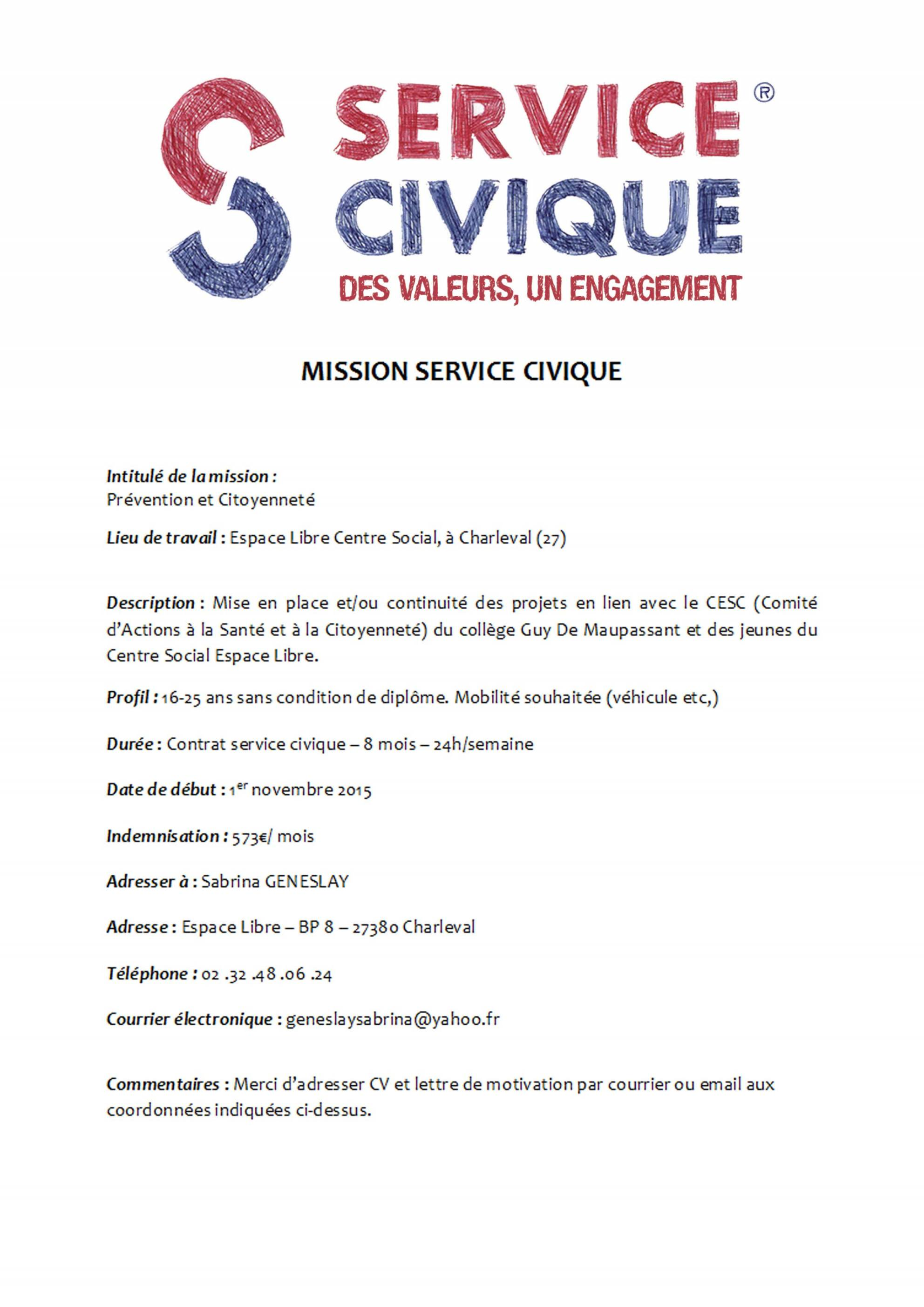 exemple de cv service civique