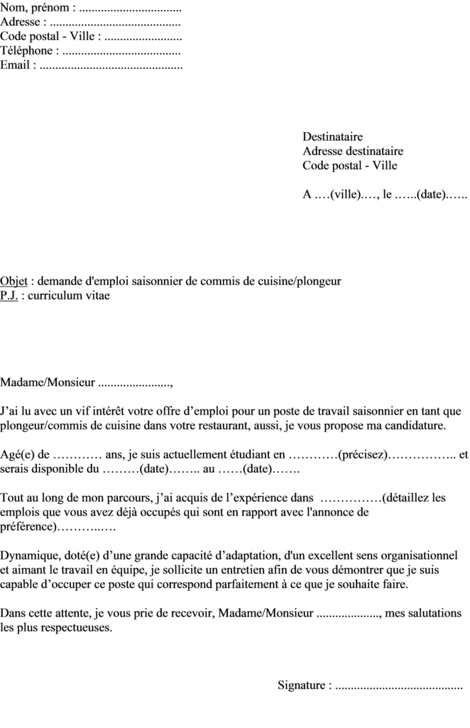 cv et lettre de motivation pour job restaurant