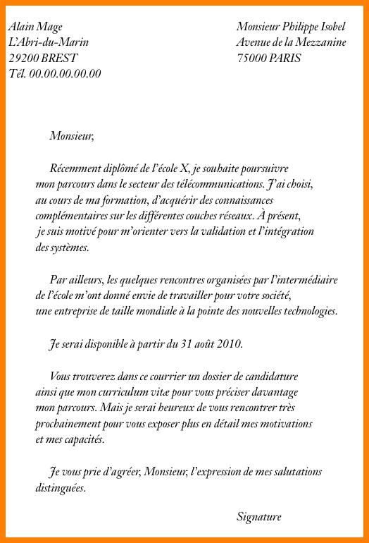 lettre pour envoyer cv