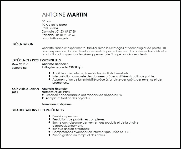 cv analyste financier debutant