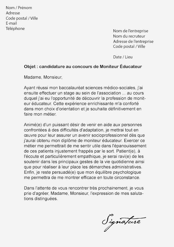 image lettre de motivation concours moniteur educateur modele cv
