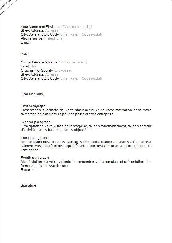 lettre de motivation traduction anglais