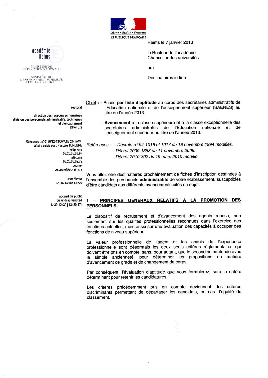 exemple de lettre administrative education nationale