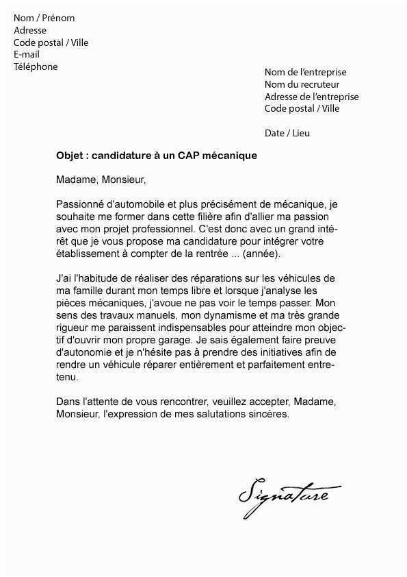 cv lettre de motivation mecanicien auto