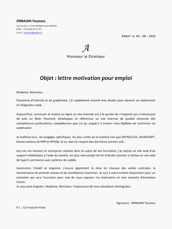 image plan lettre de motivation modele cv