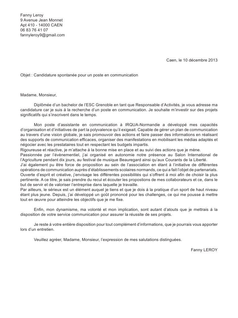 lettre de motivation candidature spontanee employee administrative
