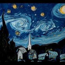 La Nuit étoilée de Van Gogh en faisant flotter de la peinture sur de l'eau