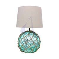 Green glass buoy nautical lamp
