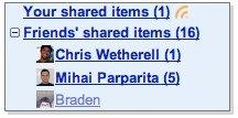 Google Reader Friend's Shared Items