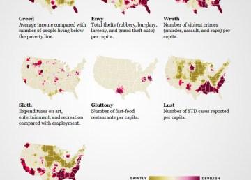 Mapa siete pecados capitales EEUU