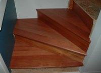 Custom Santos Mahogany Hardwood Stair Treads:Calgary, Alberta