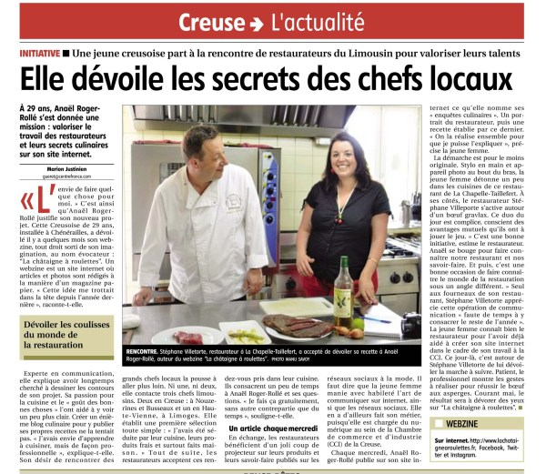 Article du journal La Montagne Creuse