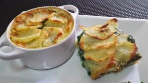 patatas y espinacas gratinadas con queso