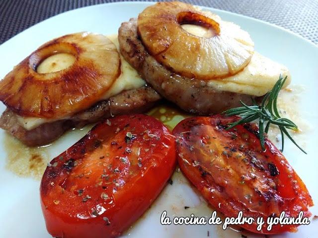 Lomo de cerdo con piña y queso al Pedro Ximénez