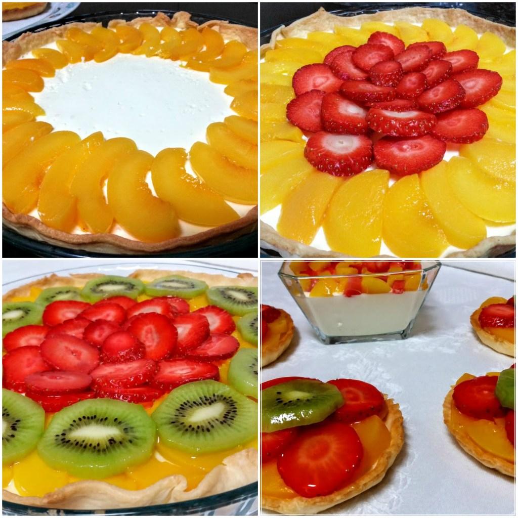 tarta de frutas con crema de limon sobre masa brisa.