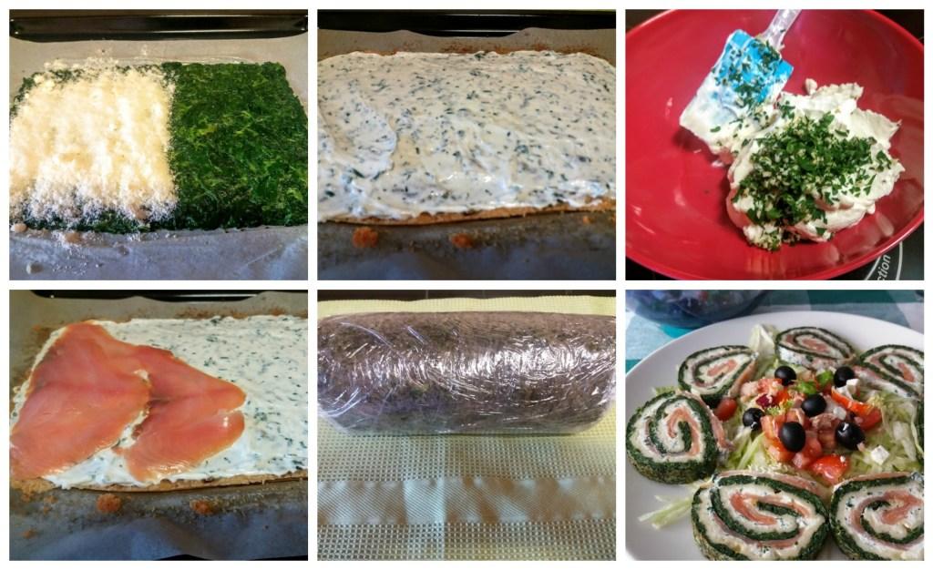 rollos de espinacas y salmón