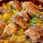 Pollo asado al ajillo con limón