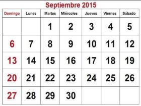 Septiembre Calendario 2015