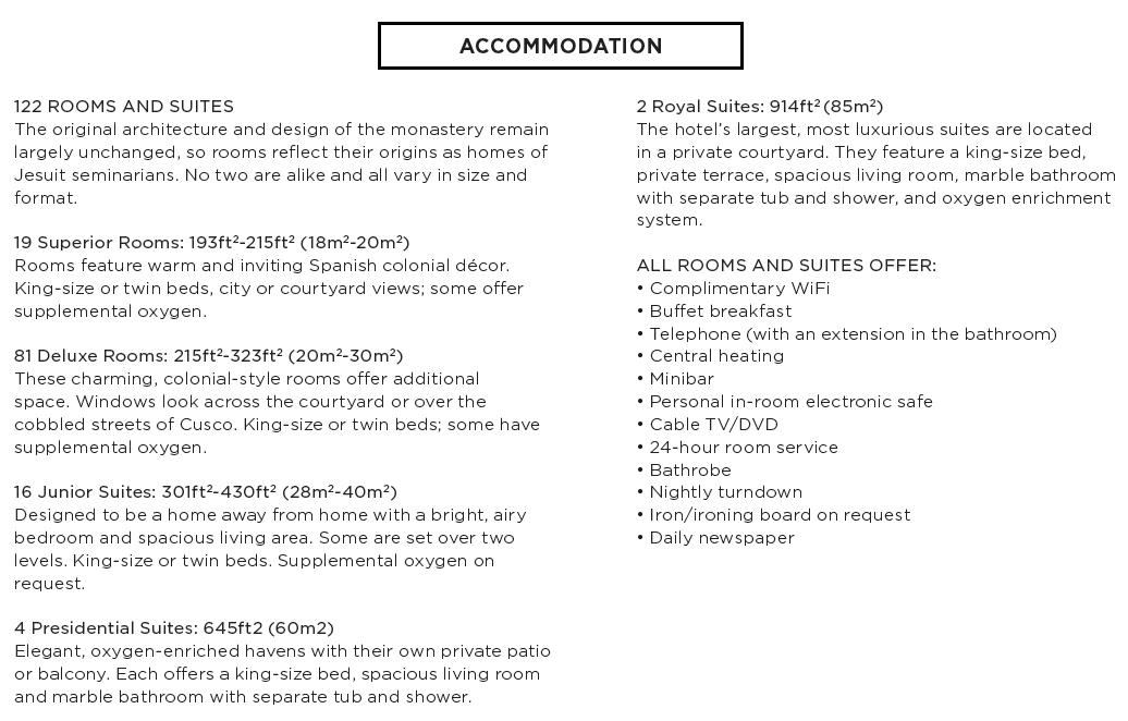 Cuzco - Hotel Monasterio - Accommodations