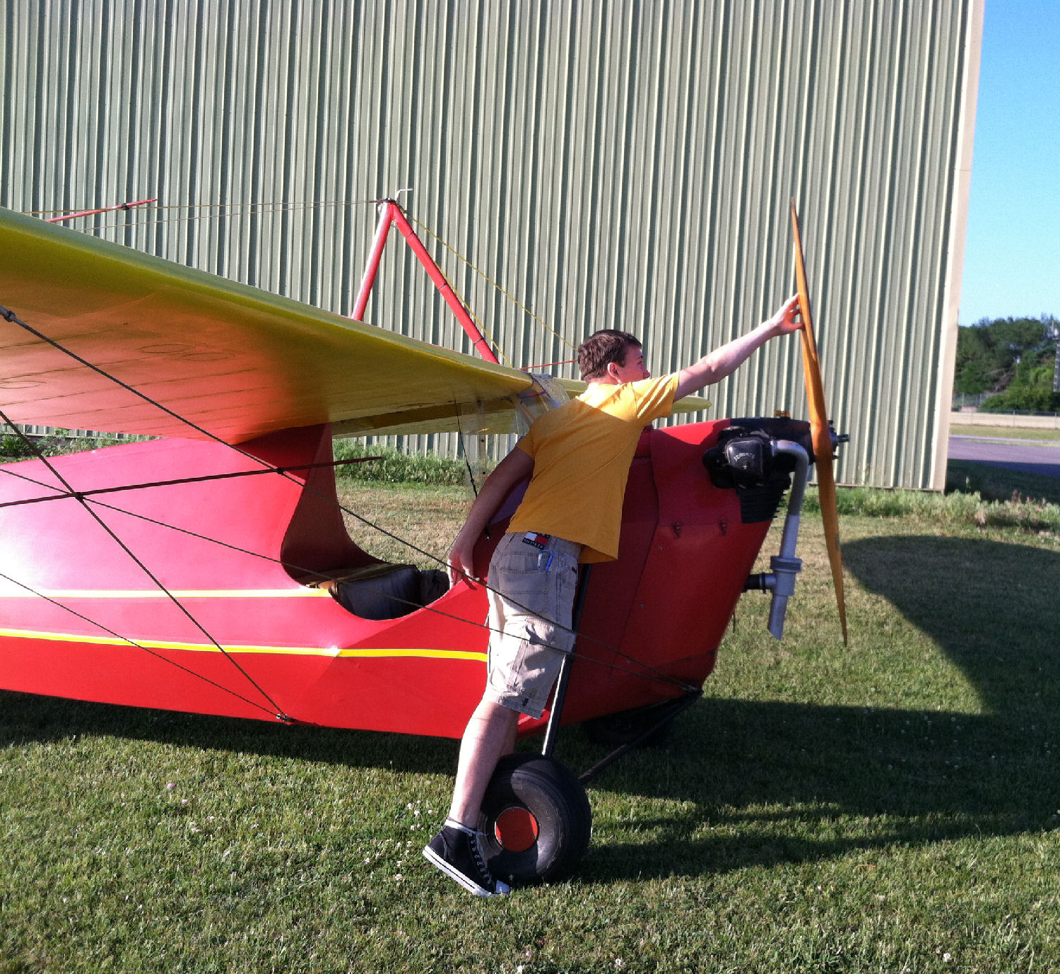 Lucky lad gets to solo his family's Aeronca C3