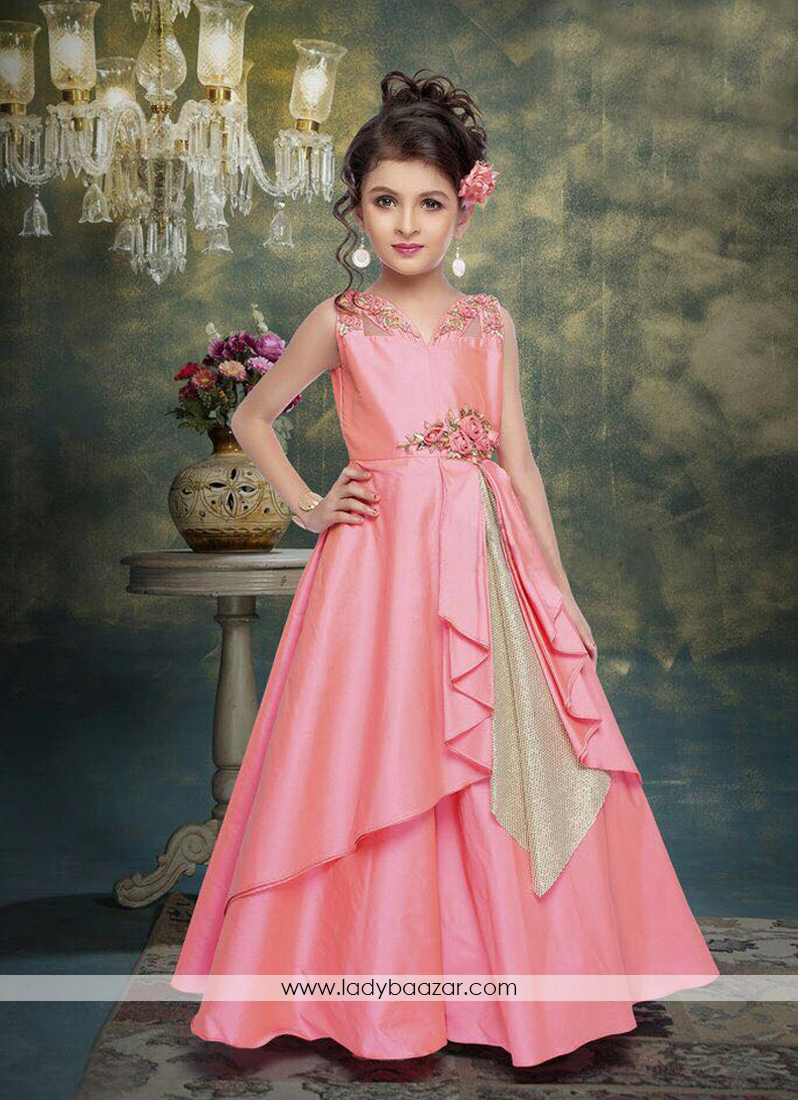 Cute Baby Angel Wallpaper Stylish Baby Pink Silk Gown For Cute Baby